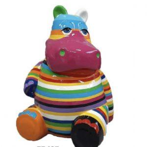hippo assis en résine multiolores