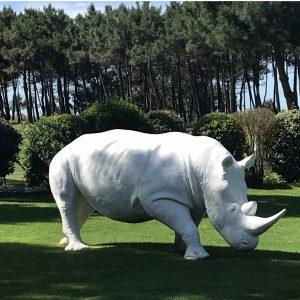rhinoceros en fibre de verre blanc