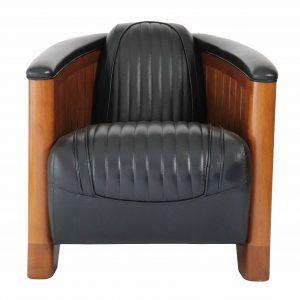 fauteuil bois cuir noir