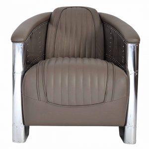 fauteuil alu riveté cuir gris