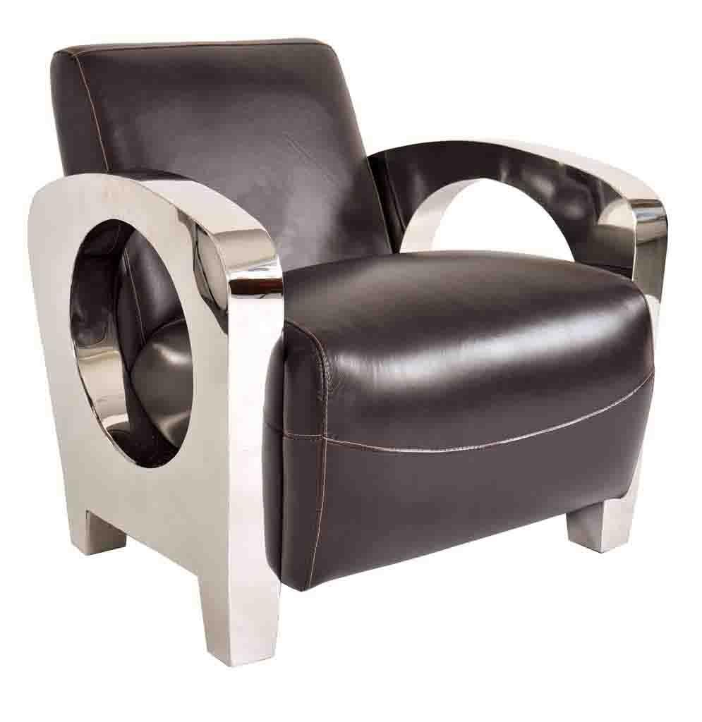 fauteuil chrome cuir noir