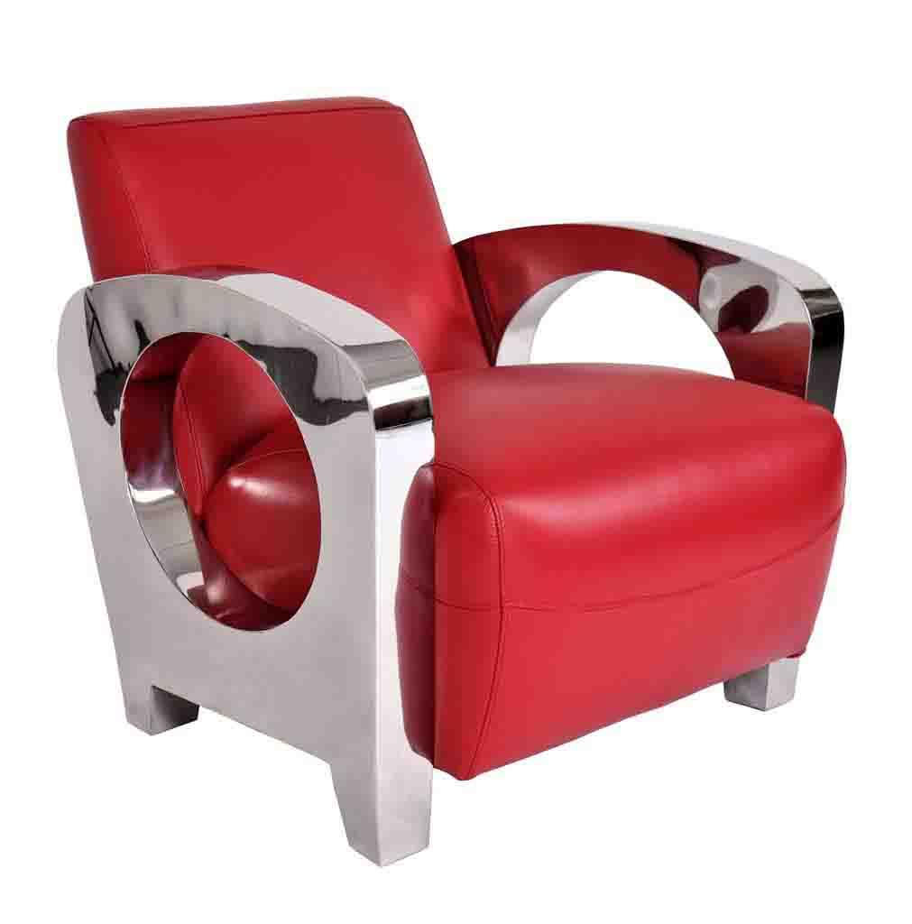 fauteuil chrome cuir rouge