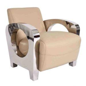 fauteuil chrome cuir beige