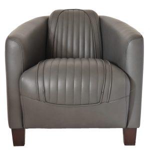 fauteuil matelassé cuir gris