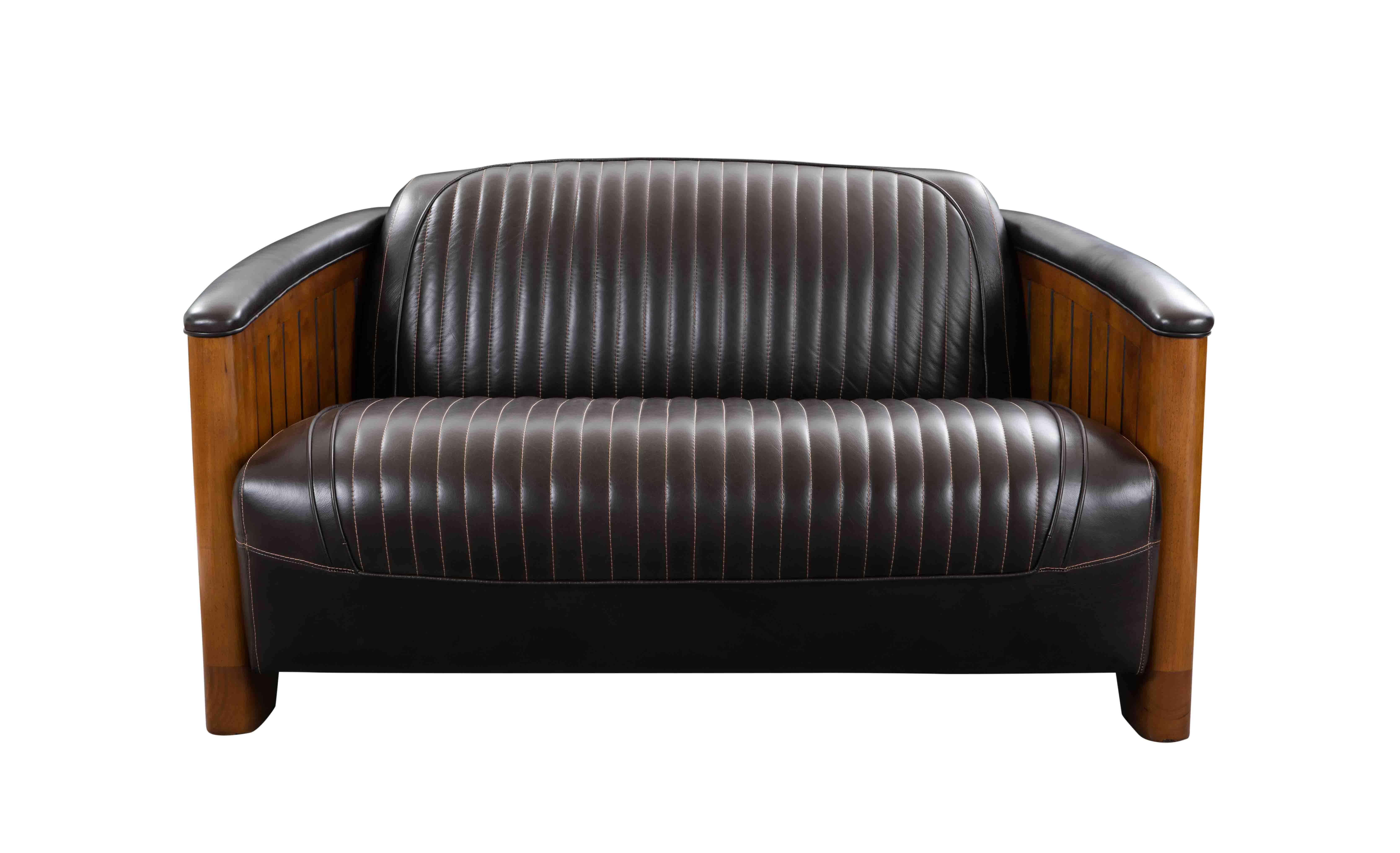 canapé bois cuir noir