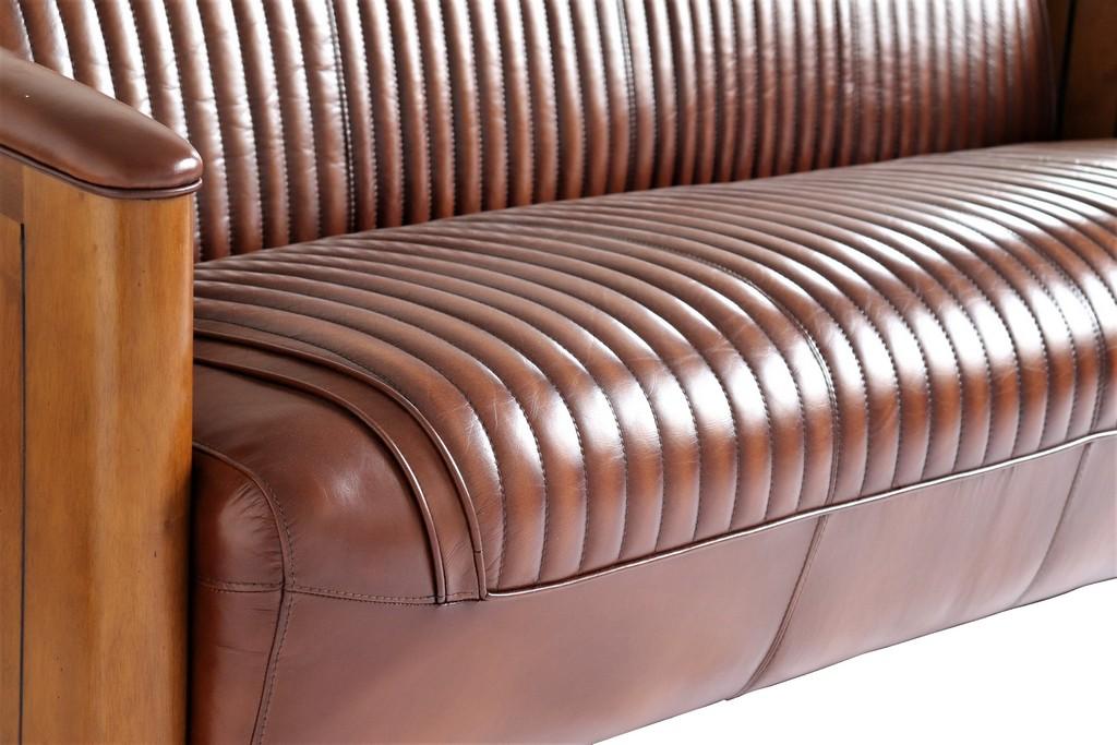 canapé bois cuir vintage