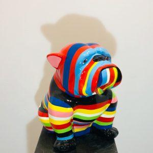bouledogue en résine multicolores
