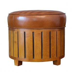 pouf en bois cuir vintage