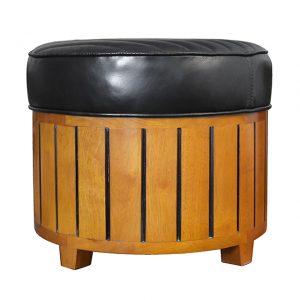 pouf en bois cuir noir