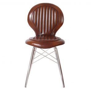 chaise alu riveté cuir vintage