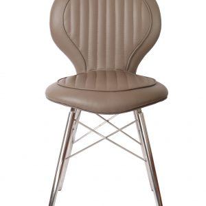 chaise alu riveté cuir beige