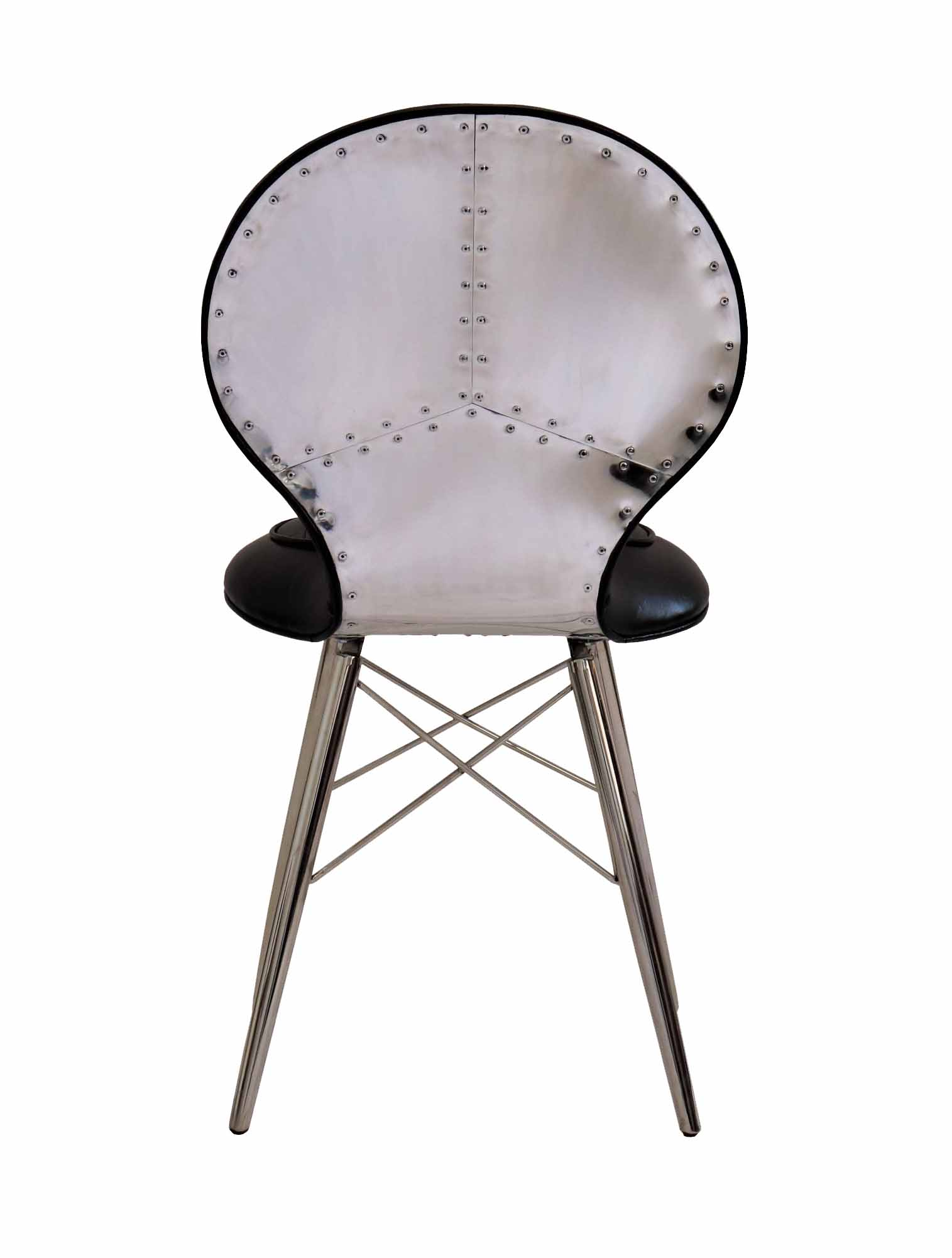 chaise alu riveté cuir noir