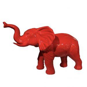 éléphant en fibre de verre rouge