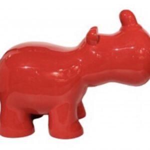 rhinocéros stylisé en résine rouge