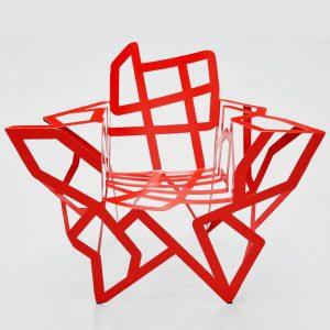 fauteuil acier rouge artiste