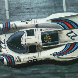 tableau huile sur toile theme porsche 917 martini