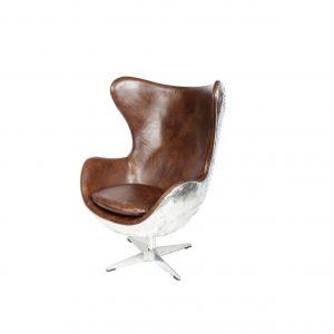 fauteuil jacobsen en alu riveté cuir vintage