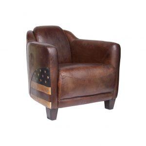 fauteuil club cuir vintage et personnalisé USA