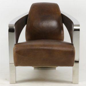 fauteuil design chrome cuir vintage