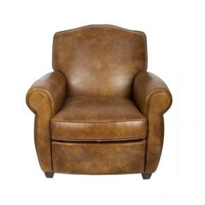 fauteuil club moustache cuir vintage