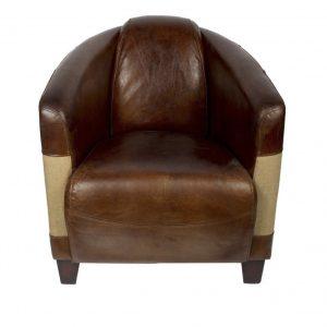 fauteuil cuir vintage tissu