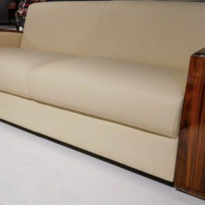 canapé bois palissandre cuir beige