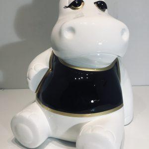 hippopotame assis en résine personnalisé