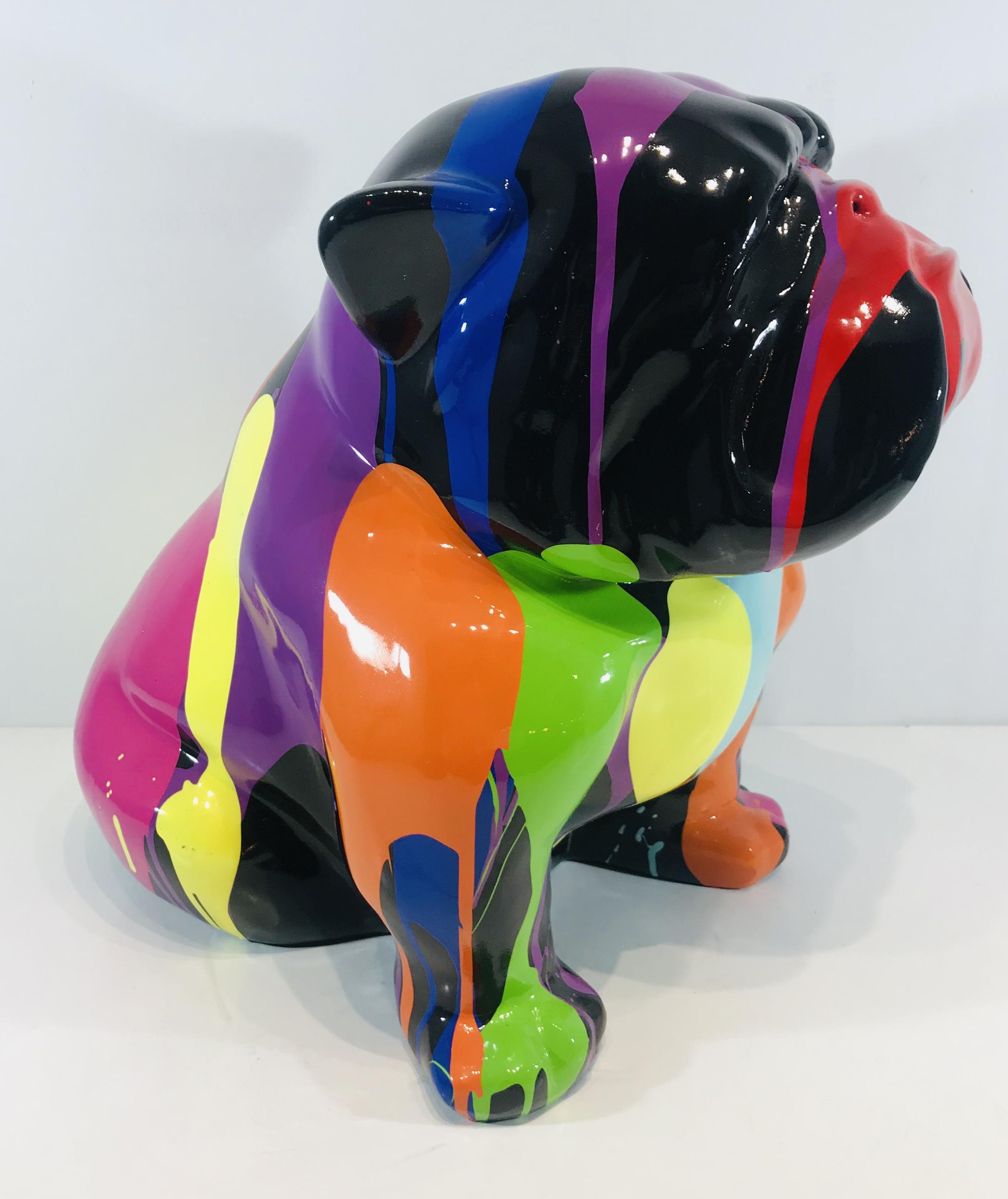 bouledogue assis en resine personnalise