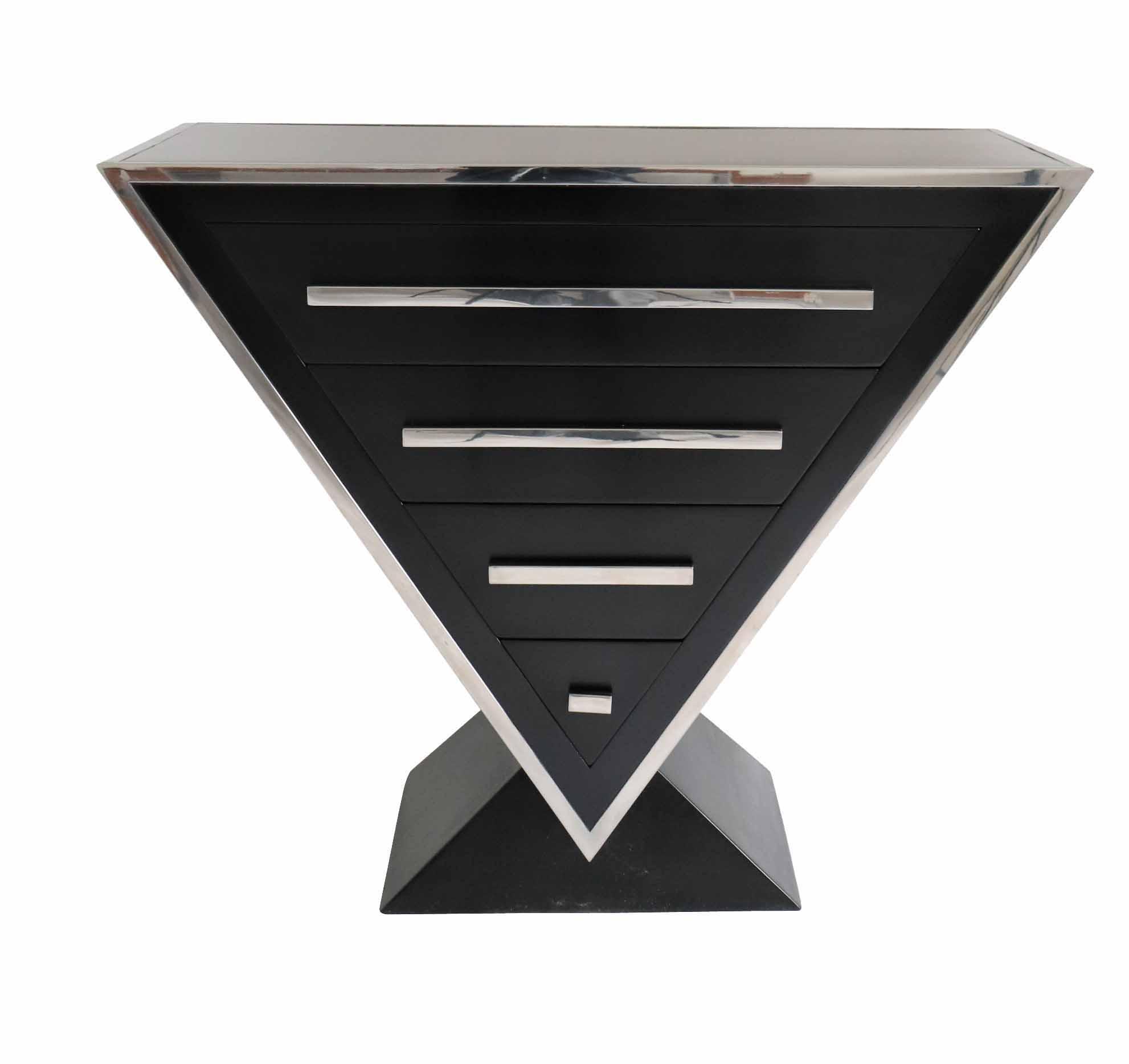 commode-bois-laque-noir-triangle