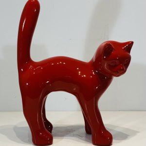 chat en résine laquée rouge