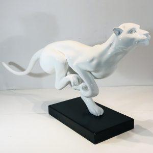 léopard en résine laqué blanc