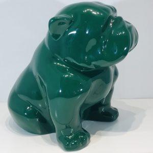 bouledogue assis en résine laqué vert