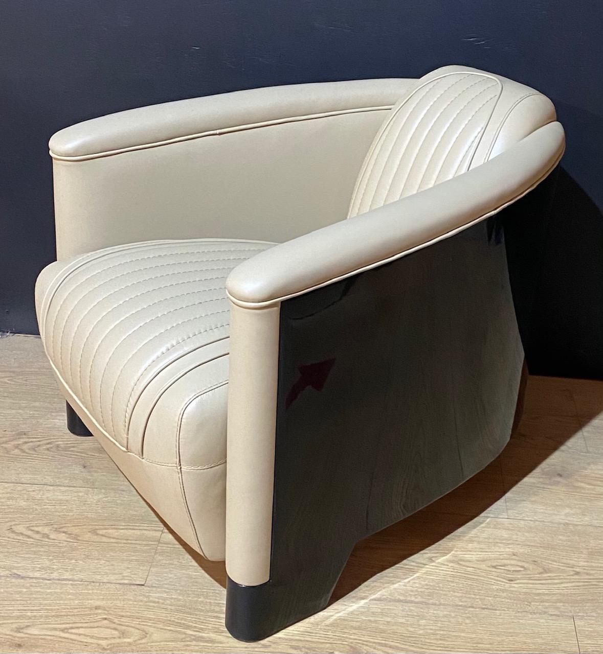 fauteuil club coque laqué noir