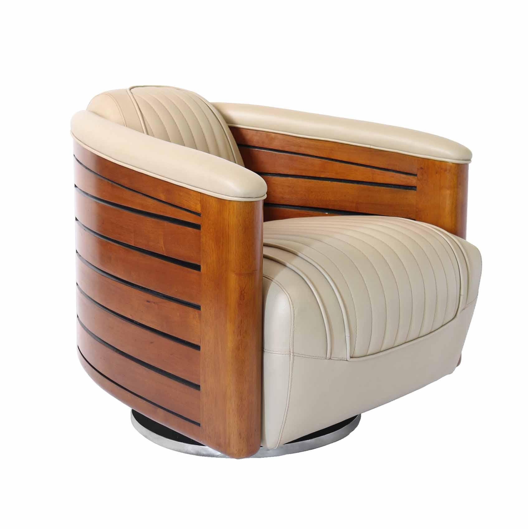 fauteuil pivotant bois et cuir