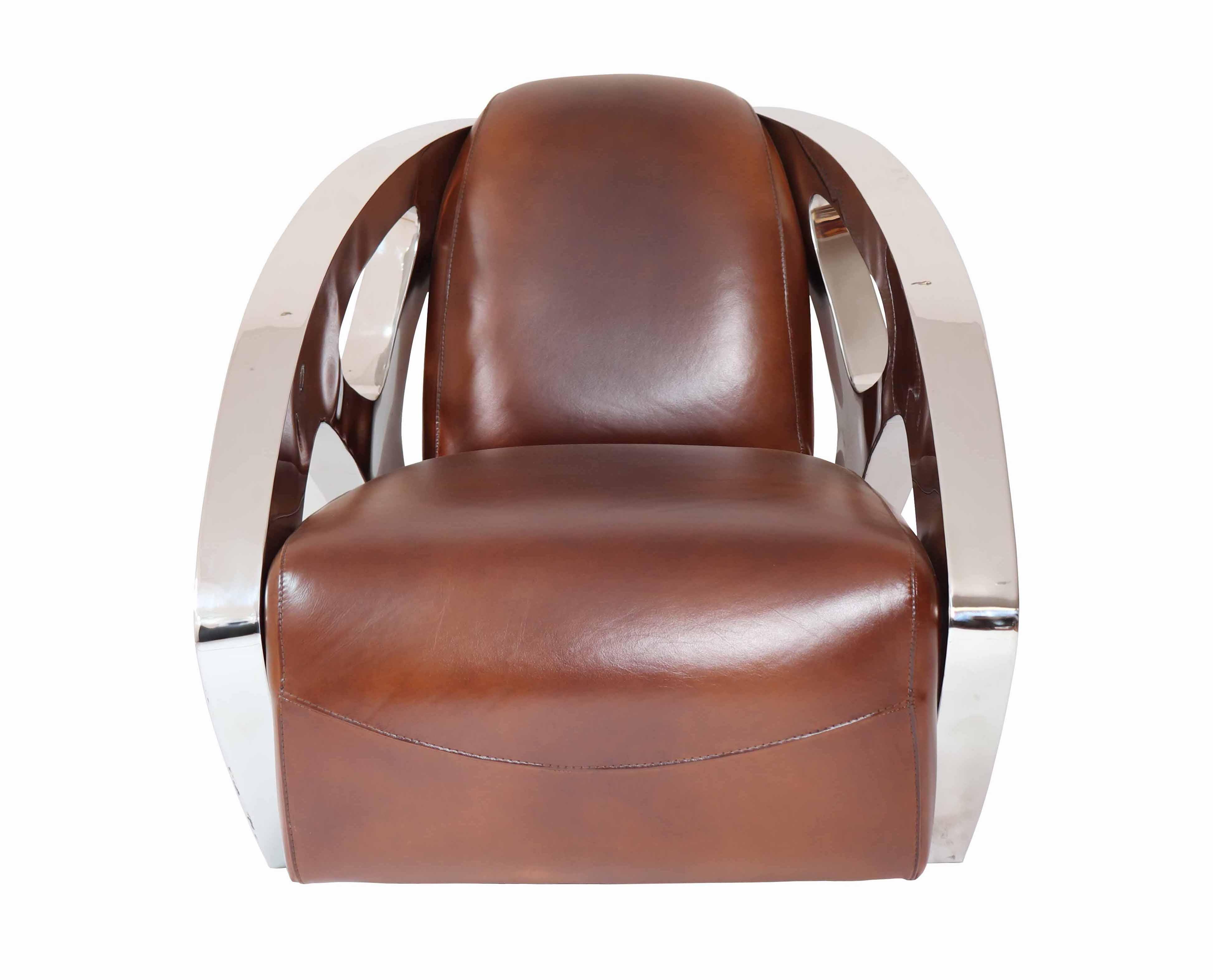 fauteuil design inox cuir vintage