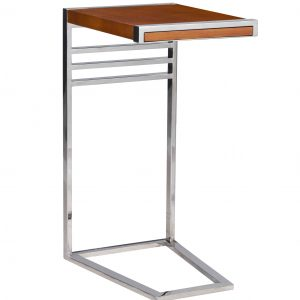 petit meuble d'appoint en acier chrome bois