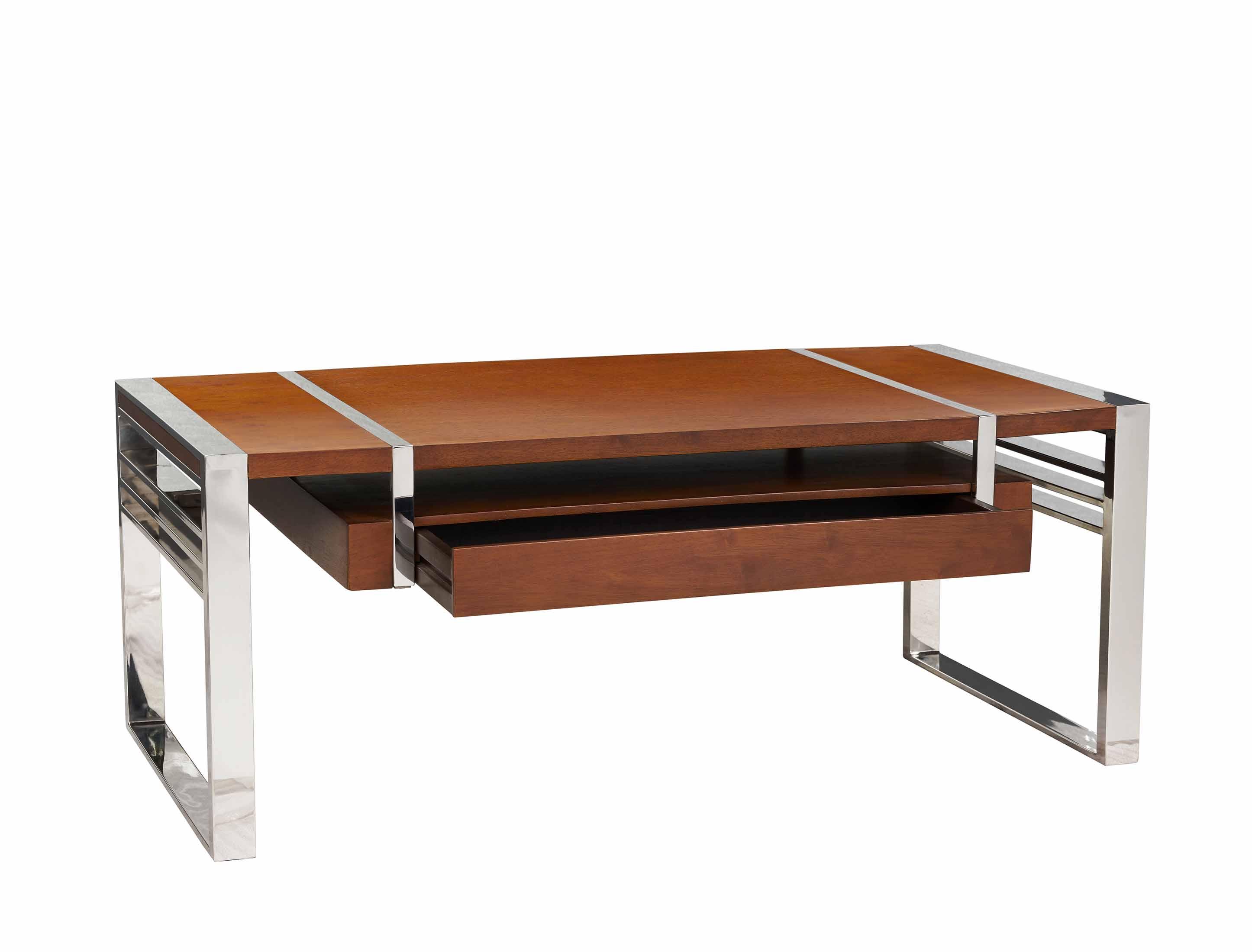 table basse noyer et chrome